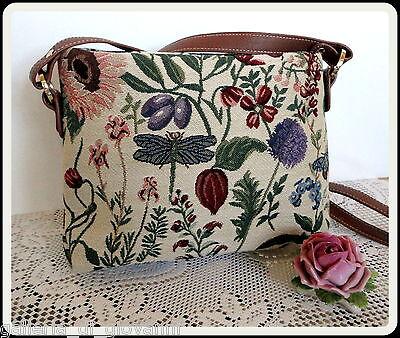 "FLEURS DE LA JARDIN Tapestry Shoulder Purse Handbag Bag 11"" W x 8""H  """