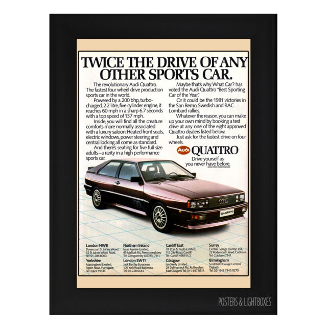 AUDI QUATTRO ADVERT TWICE THE DRIVE Framed Poster A4 Black Frame