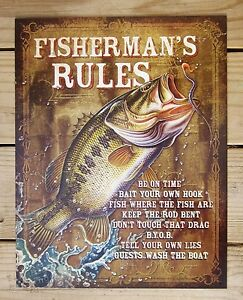 Fisherman\'s Rules TIN SIGN funny fishing metal wall decor cabin ...