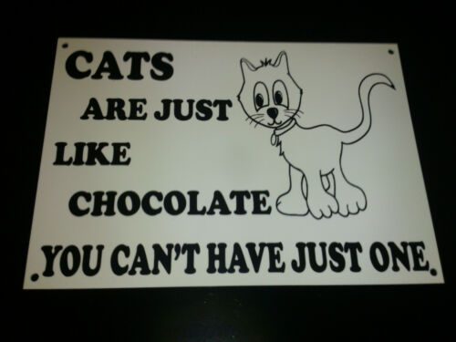 A5 Funny Sign CATS LIKE CHOCOLATE CAN/'T HAVE ONE Xmas Present Secret Santa