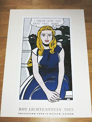"""ROY LICHTENSTEIN POSTER """" I KNOW HOW YOU MUST FEEL, BRAD... """" 1963 VINTAGE MINT"""