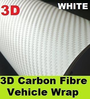 3D Carbon Fibre Vinyl 1520 x 500mm - White - Textured Vehicle Wrap for your Car!