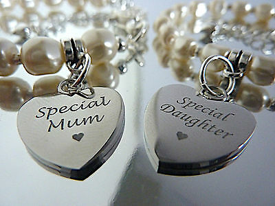 Mum Mummy Mom Mommy and Me Bracelet Set Heart Charm Engraved Swarovski Pearls