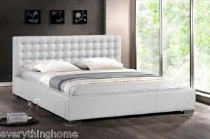 White Bed Frames Queen modern white faux leather queen or king platform bed frame with