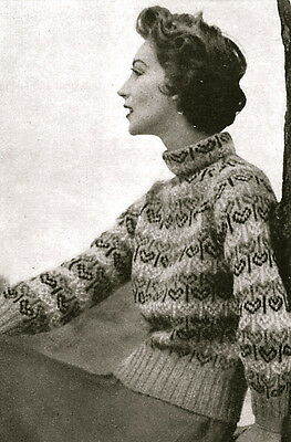 Vintage 1950s knitting pattern-how to make a Valentine heart fair isle jumper