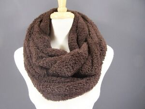Dk-Brown-sherpa-scarf-super-soft-big-fluffy-cowl-neck-circle-infinity-loop-scarf