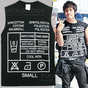 Care-Label-Print-Graphic-Tank-Vest-Sleeveless-T-Shirt-Shinee-BigBang-2NE1-Kpop