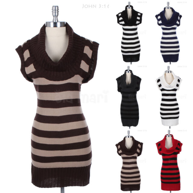 WARM Striped Cowl Neck KNIT TUNIC DRESS Sweater Ribbed Hem and Neckline S M L