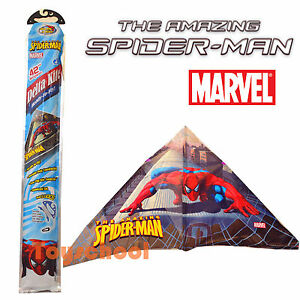 42-Marvel-The-Amazing-Spiderman-Kids-Triangle-Delta-Kite-w-Lines-Outdoor-Toys