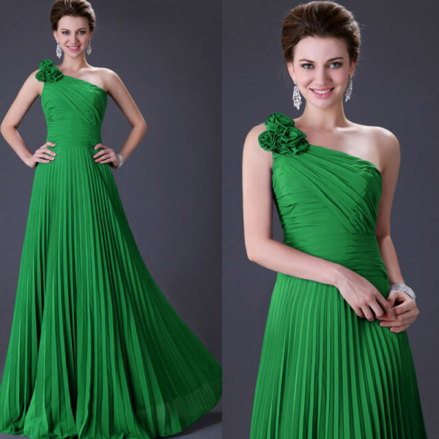 Sexy One Shoulder Pleated Lady Gowns Prom Evening Formal Party Long Maxi Dress