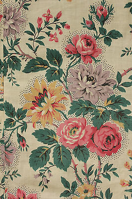 Vintage  French printed cotton fabric 1920's  ~ for reworking