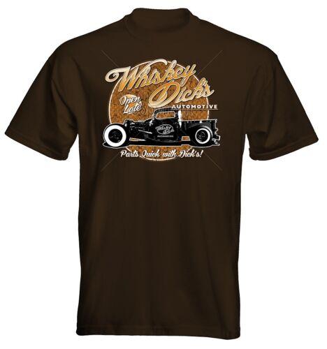 Velocitee Mens Premium T-Shirt Whiskey Dicks Hot Rat Rod Truck Rockabilly W16318