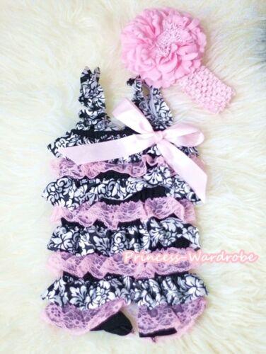 NewBorn Baby Light Pink Damask Lace Romper Headband for Pettiskirt 2PC Set NB-3Y