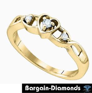 3 diamond .10-carats heart eternal love promise ring ...
