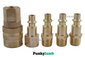 5pc-Air-Line-End-Quick-Coupler-Set-Compressor-Coupling-1-4-NPT-BSP-Garage-Hose