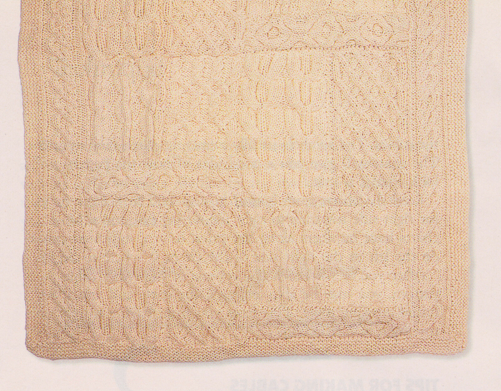 Aran Style Cable Patchwork Sampler Throw Afghan Blanket In