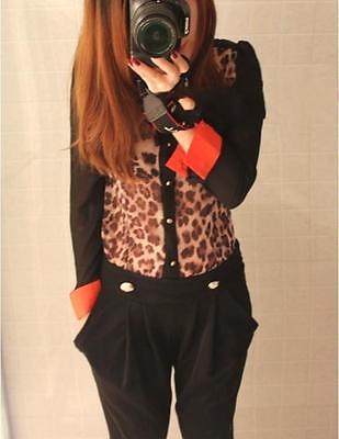 2012 Sleeve Leopard shoulder Denim Chiffon T-shirt Tops blouses