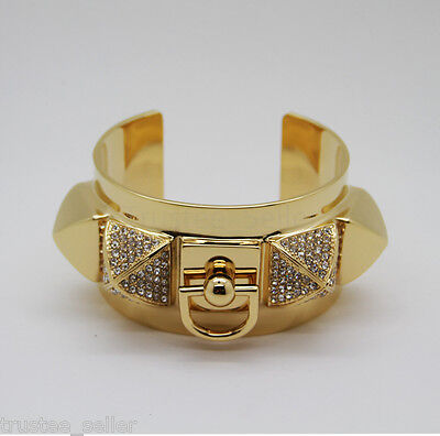 NWT JUICY COUTURE Collier De Cuff Pave Pyramid Crystal Metal Bracelet Bangle