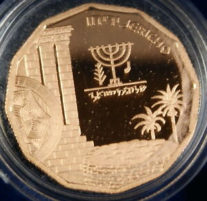 1987-Israel-1-4-Oz-Jericho-Gold-Proof-Coin-5-New-Sheqalim-Sites-in-Holy-Land