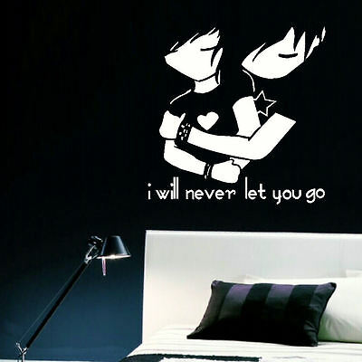LARGE TEENAGE BEDROOM WALL ART STICKER EMO LOVE NEVER LET STENCIL TRANSFER DECAL