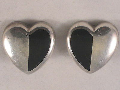 Beautiful Mexican Sterling Silver & Onyx Clip On Earrings IDM Silversmith