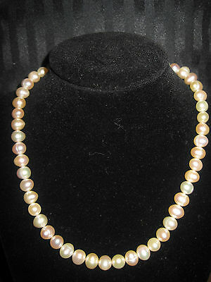 Sterling Silver 925 Grape Leaf Toggle Pink Peach Pearls Choker Necklace Faux