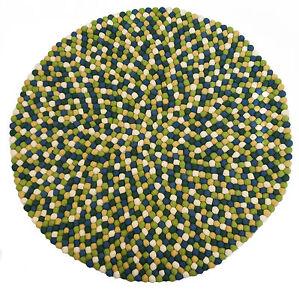 filzkugelteppich 90 cm schurwolle rund vorleger gr n filz teppich filzkugeln ebay. Black Bedroom Furniture Sets. Home Design Ideas