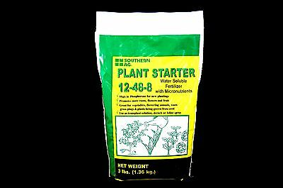 Plant Starter 12-48-8 Fertilizer - Water Soluble with Micronutrients - 3lb Bag