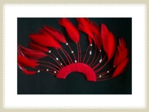 1 BRIGHT RED 1/2 CIRCLE PINWHEEL BEADED HACKLE FEATHERS