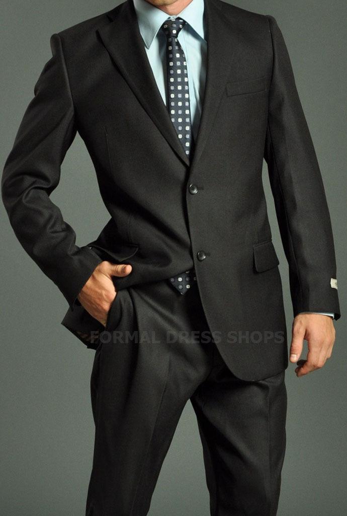 Solid Mens Black Suit Pants Double Vented Jacket Wedding