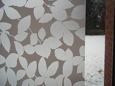 WHITE LEAF PRIVACY FROSTED GLASS EFFECT STATIC CLING SELF ADHESIVE VINYL FILM