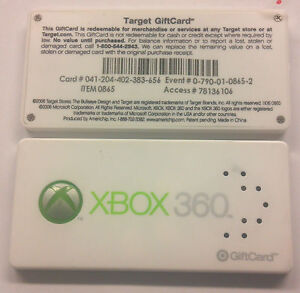 MICROSOFT-XBOX-360-PROMO-TARGET-GIFT-CARD-0865-START-UP-SOUND-LIGHT-034-AS-IS-034