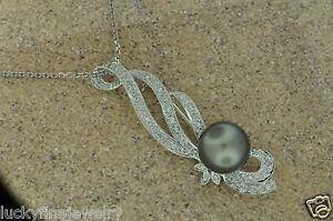 0.65 DIAMOND SOUTH SEA PEARL PINS PIN BROOCH BROOCHES 18k white gold 15.3 grams