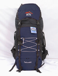 NEW-85L-Internal-Frame-Camping-Hiking-Backpack-Navy