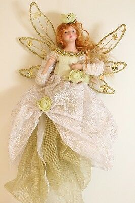 NEW Gold Fairy Christmas Tree Topper With Magical Glitter Traditional Decoration