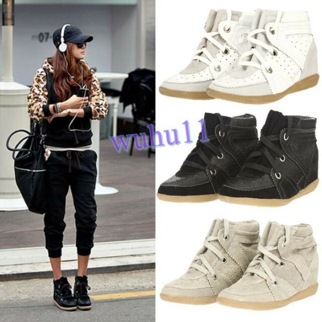 New Womens Leather Lace Up High Top Wedge Sneakers Shoes Hidden Heel Ankle Boots