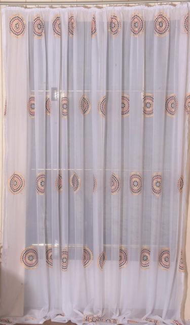 Gardine,Vorhang,bestickt,m.Schlaufen od. Band,Store terra/gold/braun