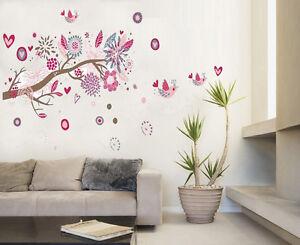 Pink-Flowers-Tree-Living-Wall-Stickers-art-Mural-Children-Wallpaper-Kids-Girls