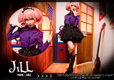 Lolita goth british royal academy profressor cosplay flounce shirt uniform PU