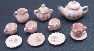 1-12-Scale-Ceramic-11-Piece-Pink-Dolls-House-Miniature-Tea-Set-Floral-Motif-R05