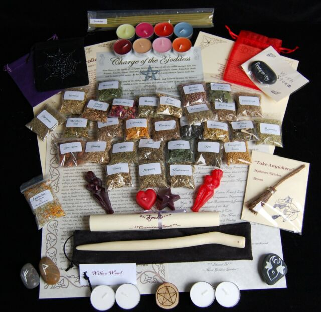 LARGE WITCHES STARTER HERB SET Spell Ingredients Kit Willow Wand/Wiccan/Pagan