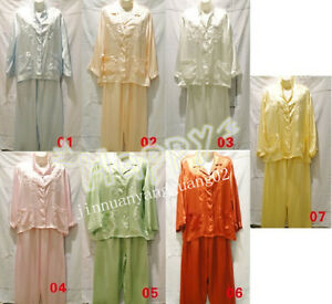 New-Arrival-Womens-Sleepwear-Silk-Satin-Pajama-Sets-ladies-Nightgown