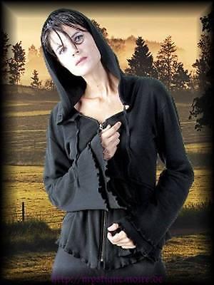 Gothic Mittelalter Hoodie Zipfel Kapuze Jacke Schwarz Fee Elfe 36 38 40 42 44 46