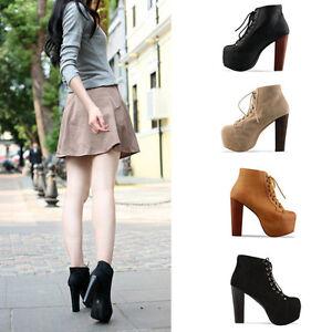 Ladies-4-Color-Lita-platforms-high-heels-Lace-Up-Ankle-shoes-boots-36-37-38-39