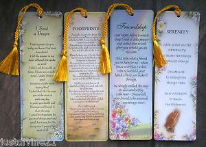 Religious-Gift-Bookmark-Various-Footprints-Serenity-Friendship-Said-a-Prayer