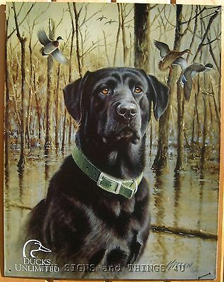 Ducks Unlimited Black Lab TIN SIGN dog metal wall decor labrador retriever 1203