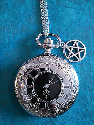 Silver Roman Pocket Watch, Steampunk, Celtic, Wiccan, Pagan, Can Be Personalised