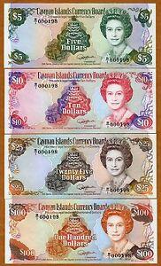 Set-Cayman-Islands-5-10-25-100-1991-P-12-13-14-15-QEII-UNC-Low-S-Ns-240