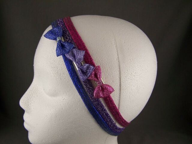 Blue Purple Pink set of 3 sparkly headbands Stretch kids girls childrens