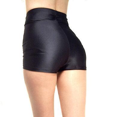 HIGH WAISTED SPANDEX SHORTS HOT PANTS BLACK XS-XXXL